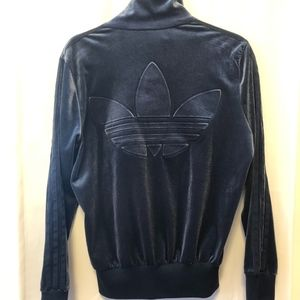 Adidas Original Velour Track Jacket (Navy Blue)